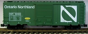 AML/Canada G scale 40' Boxcar Ontario Northern with steel wheels