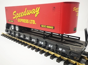 USA Trains Used Speedway Express trailer on flatcar