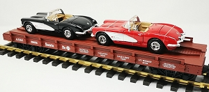 Southern Pacific auto flatcar with 2  56 Corvettes....STORE DISPLAY....BRAND NEW