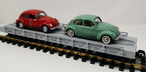 D&RGW auto flatcar with 2 VW Beetles ....STORE DISPLAY..BRAND NEW
