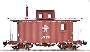 AM33-011 Accucraft/AMS Narrow Gauge Short Caboose - D&RGW  MOFFAT LOGO #0575