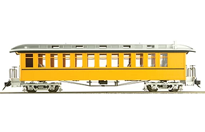 Accucraft 1.20.3 scale  J&S Coach - Unlettered Bumble Bee Yellow Single Stripe, 1 car