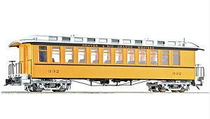 Accucraft 1.20.3 scale  J&S Coach - D&RGW Bumble Bee Yellow Single Stripe, 1 car
