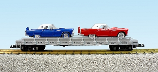 USA Trains Pennsy auto flatcar with 2 56 Ford Thunderbirds