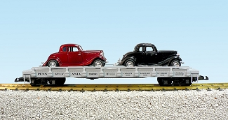 Pennsy auto flatcar with 2 34 Ford Coupe