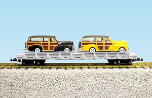D&RGW  auto flatcar with 2  48 Fleetmaster Woodies
