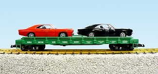 BN auto flatcar with 2 69 Dodge Charger