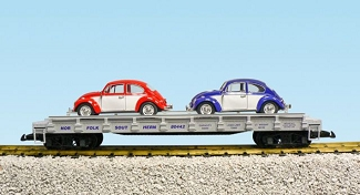 Norfolk Southern auto flatcar with 2 VW Beetles