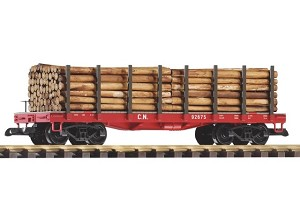 Canadian National flat car with logs