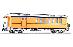 Accucraft 1.20.3 scale  J&S Coach - Combine - Unlettered Bumble Bee Yellow Single Stripe, 1 car