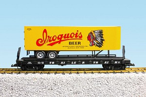 Iroquois Beer trailer on flatcar