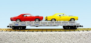 CSX auto flatcar with 2 69 Dodge Cornet Super Bee