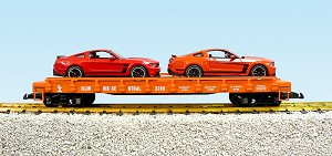 Illinois Central auto flatcar with 2 Ford Mustang BOSS