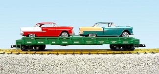 BN auto flatcar with 2 55 Chevy Bel Air
