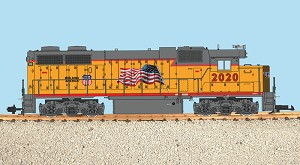 GP38-2  Union Pacific with flag